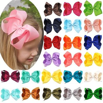 1pc 6 Inch Girls Hair Accessories Bowknot Grosgrain Ribbon children princess hairpins kids hairwear cute hair bows clips
