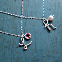 Personalized Silver Initial Necklace Swarovski Crystal or Pearl Sterling Silver Mother of of the Bride Gift