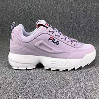 FILA Fashion Women Running Sport Casual Thick Soles Shoes Sneakers Purple I-CSXY