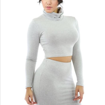 Classic Turtle Neck 2 Piece Set (Gray)