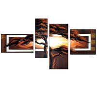 African Tree Delight Canvas Wall Art Landscape Oil Painting