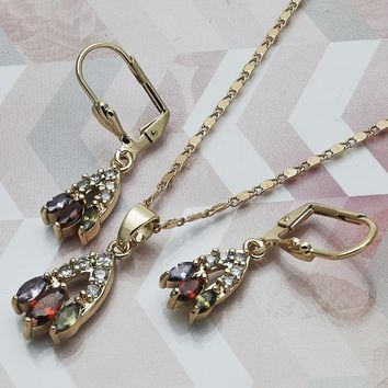 Gold Layered Women Earring and Pendant Adult Set, with Multicolor Cubic Zirconia, by Folks Jewelry