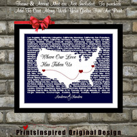 Anniversary Gift US lyrics Map Wall Art Personalized For Couples Who Travel: Song Unique Love USA Wife Husband Him Birthday Gift 8x10 Print