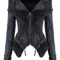 Women's Slim Short Casual Lapel Studded Rivet Shoulder Denim Blazer Jacket = 1930234180