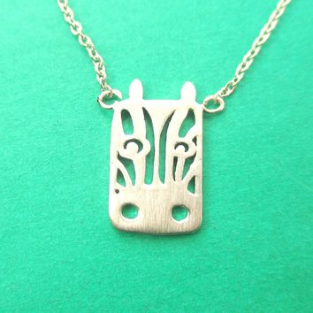 Zebra Face Cut Out Shaped Pendant Necklace in Silver | Animal Jewelry
