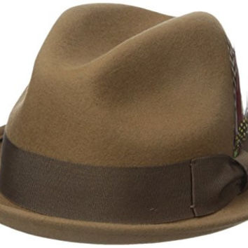 Brixton Men's Gain Fedora, Tan/Bronze, Large