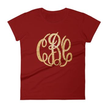 Large Monogram Women's Short Sleeve T-Shirt
