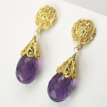 ONE DAY SALE Amethyst Earrings Purple Dangle Post  Wire Wrap 14kt Gold Fill