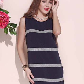 Cadetblue Striped Beaded Sleeveless Dress