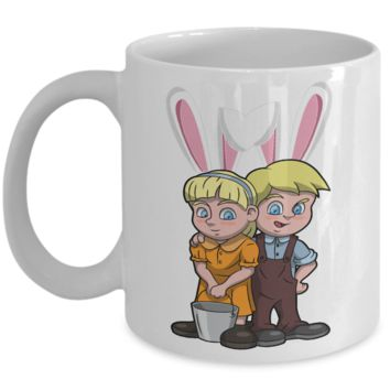Fun Kid Easter Bunny Ears Grimm Story Mug Cup For Children White Bpa Free Chocolate Cookies Jar Coloring Marker Holder Drink Mugs For Cocoa Milk Juice Best Affordable Holiday Gift For Kids 2017 2018 Fun Easter Egg Jar For Children