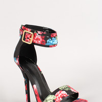 Wild Diva Floral Ankle Cuff Buckle Open Toe Heel