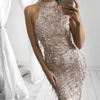 Fashion sexy high neck show thin tassel sequins dress