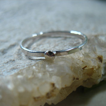 Stacking Ring Silver with Silver Dot 16