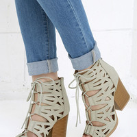 Shape on You Ash Grey Cutout Lace-Up Booties