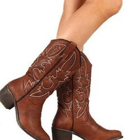 Chestnut rancher cowgirl boots from Music City Pretty Boutique