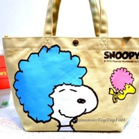 Licensed Peanuts Snoopy Dog Woodstock Canvas Tote Lunch Box Bento Bag Case