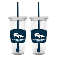 Denver Broncos 2-pc. Double-Walled Straw Tumbler Set (Den Team)