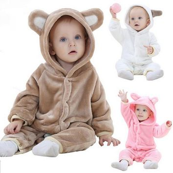 V-TREE Winter Animal shapes baby rompers fleece clothes white/pink/brown baby pajamas new born costume plush jumpsuit