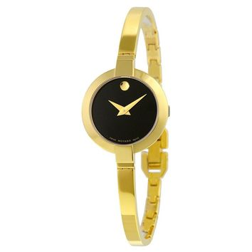 Movado Bela Black Dial Gold PVD Stainless Steel Ladies Watch 0606999