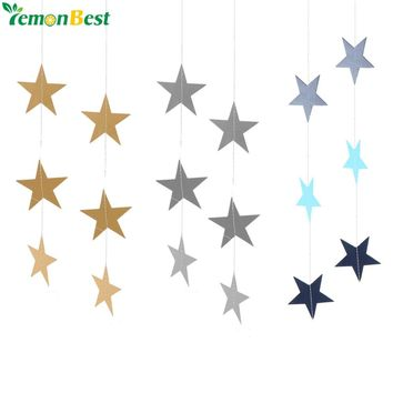 Home Decor Wall Hanging Paper Stars Decorations 4m Twinkle Star-shaped Garlands Birthday String Chain Wedding Party Banner Decor