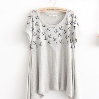 Anchor Pattern Loose Irregular Hem Short Sleeve T-shirt