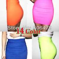 High Quality 2015 New Womens vogue mini skirts candy color A line Stretch club wear skrits pencil skirt neon saias femininas HOT