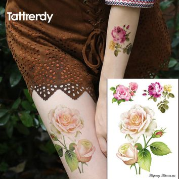 Big small rose flower 3D Flash Temporary Tattoos women's DIY tattoo stickers Fake Color Waterproof Body Art arm leg hand HB662