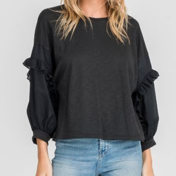 Women's Cropped Blouse with Sleeve Ruffles