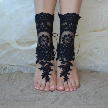 free ship, black, black Beach wedding barefoot sandals, wedding, bangle, wedding anklet, free ship, anklet, bridal, barefoot sandals