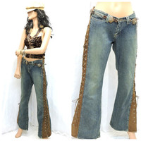 Vintage 70s leather lace jeans size 7 / 8 1970s hippie bell bottom jeans boho retro denim leather lace up bell jeans M SunnyBohoVintage