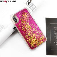 Colorful Sequins Dynamic Liquid Quicksand Glitter Stars Phone Cases For iphone X 10