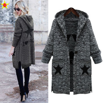 L-5XL Plus Size Casual Women Sweaters Autumn Winter Fashionable Hooded Star pattern Loose Thick Knitting Sweaters Extra Large