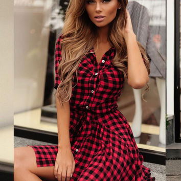 Red and Black Checkered Short Sleeve Mini Dress