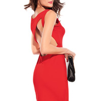 Red Scoop Neckline Sleeveless Dress with Open Back