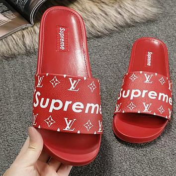 LV Louis Vuitton x Supreme Woman Men Fashion Slipper Sandals Shoes