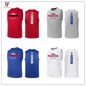 BONJEAN Design 3 Allen Iverson Printing Jersey Top Quality Uniforms Sports Basketball Jerseys Breathable Training Shirts