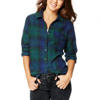Oversized Flannel Button-Down Shirt - Green Multi