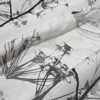 Pair Natural Linen Drapery Panels  White and Black linen kitchen curtains