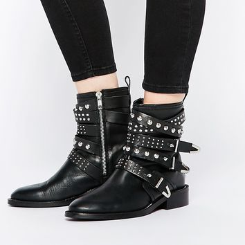 Mango Studded Buckle Biker Boot
