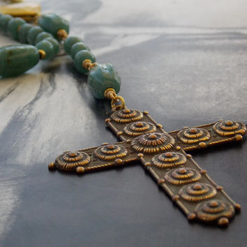 Etruscan Cross Rosary Locket Necklace, Brass Heart Locket, Antique Glass Beads, Green Jade Color, Vintage Brass Chain, Boho Chic, Bohemian