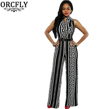 ORCFLY Fashion Long Jumpsuits For Women Print Gold Belted Rompers Womens Jumpsuit  Summer Overalls Playsuits 64021 Macacao