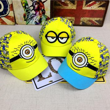 New Minions cartoon for Minions  Adjustable Caps girl kids  Baseball hat Cool Boy Hip-hop cosplay accessary