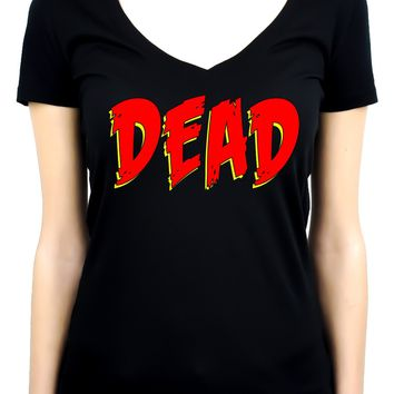 DEAD Blood Red Horror Style Women's V-Neck Shirt Top Occult Clothing