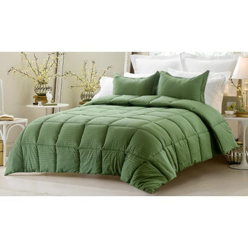 3PC Reversible Solid/ Emboss Striped Comforter Set- Oversized & Overfilled ( 2 Bedding Looks in 1) - Dark Green in Queen Size