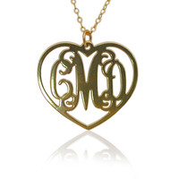 """Monogram Necklace In Heart Shape - 1"""" Inch - 18k Gold Plated, Wedding Jewelry, Reception Gift"""