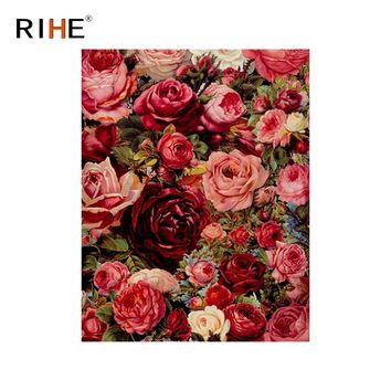 RIHE Blooming Rose Diy Painting By Numbers Flower Oil Painting Cuadros Decoracion Acrylic Paint On Canvas Modern Wall Art 2018