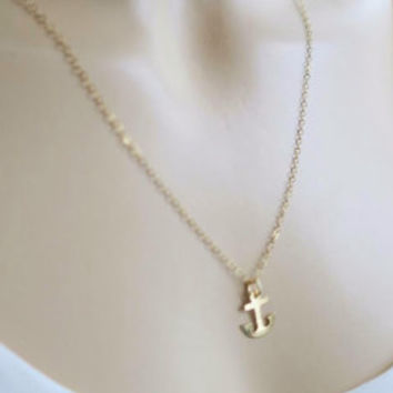 Gold Fill Anchor Charm Necklace, Delicate Everyday Jewelry | LaLaMooD