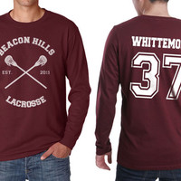 Beacon Hills Lacrosse CR Whittemore 37 Jackson on Longsleeve MEN tee Maroon color
