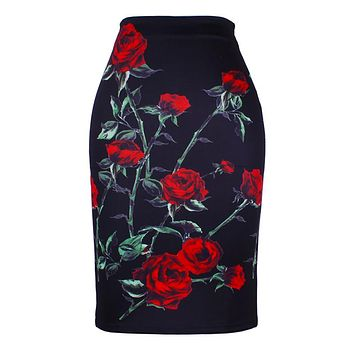 Fashion Flower Red Roses print women pencil skirts lady midi saias female faldas girls black bottoms