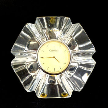 Vintage Orrefors Crystal Clock, Desk Clock, Mantle Clock, Orrefors Etched, Made in West Germany, Executive Gift, Office Decor